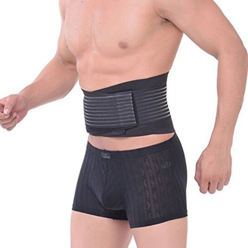 Healthcom Men's Ajustable Sports Belt Lumbar Lower Back Support Brace Exercise Belly Body Shaper Slimming Tummy Waist Trimmer Belt for Lose Weight Belt(Size:M) (Mens Tucking Underwear)