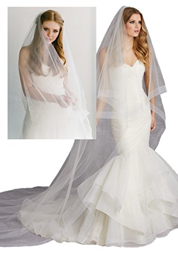 Passat Pale Ivory Two Tier 3M Cathedral Circular Veil Edged with Horsehair VL 1028