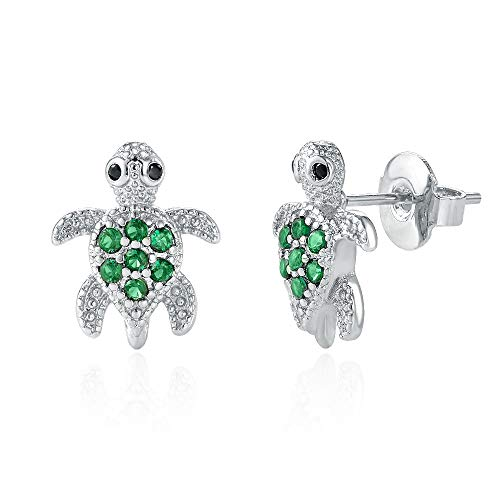 Kingsin Hypoallergenic Silver Turtle Stud Earrings For Women Girl With Green Swarovski Pink Crystal Cubic Zirconia Safe Small Sparkling White Gold Plated Jewelry