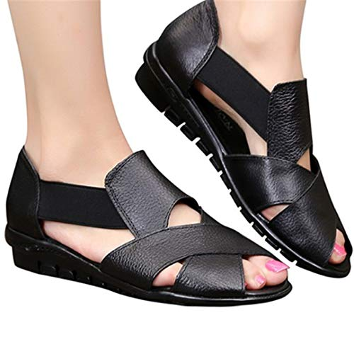 (Fainosmny Summer Sandals for Women Rome Style Single Shoes Flat Wedges Shoes Casual Open Toe Comfort Sandals Water Shoes Black)