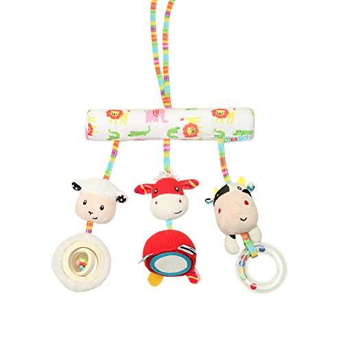 TOYANDONA Plush Crib Toy Cute Farm Animal Crib Rail Toy Stroller Toy for Baby ()
