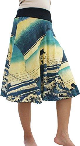 RaanPahMuang Fisherman Under Fuji Japan Woodblock Print - 3/4 Length Patch Skirt, Large