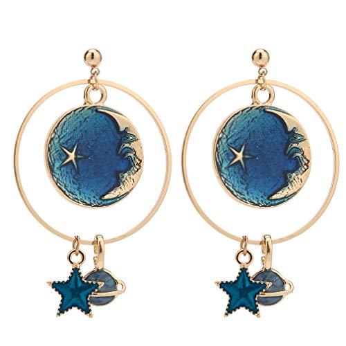 SUNSCSC Enamel Moon Star Earth Planet Drop Hook Earrings Long Pendant Dangle Jewelry for Woman Girls (New Design W775)