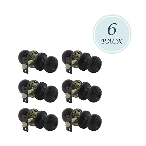6 Pack Privacy Door Lock Storage Room Bathroom Keyless Lockset, Round Knob Set, Matte Black Finish, Interior Door Use