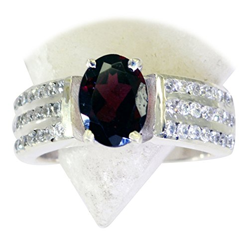 Gemsonclick Genuine Garnet Ring Silver Red Gemstone Oval Cut Cluster Style Jewelry Size 5,6,7,8,9,10,11
