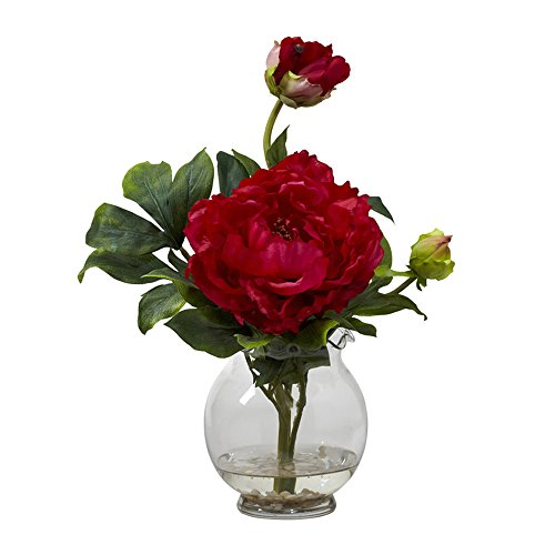 Nearly Natural Home Indoor Decorative Tabletop Peony With Fluted Vase Silk Flower Arrangement Red