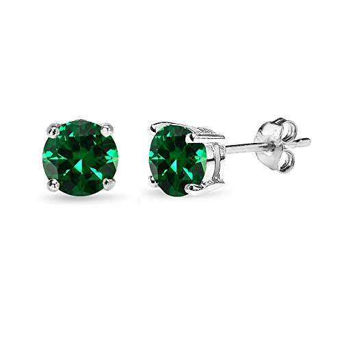 Sterling Silver Simulated Emerald 6mm Round-Cut Solitaire Stud Earrings