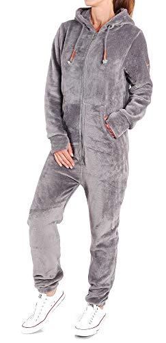 Finchgirl F2001 Damen Jumpsuit Teddy Fleece Einteiler Overall Anzug Flauschig