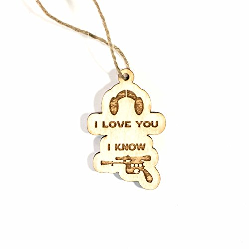 Ornament - I Love You I Know - Raw Wood 3x2in by Hip Flask Plus (Image #3)