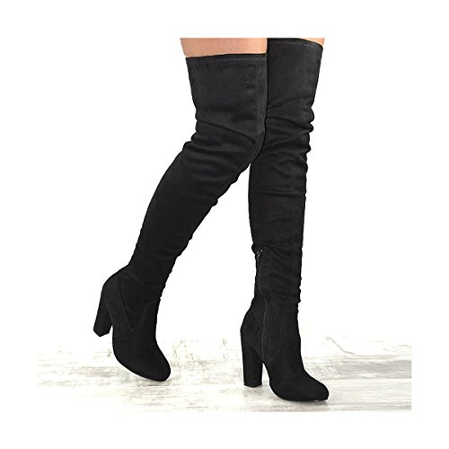 Suede Womens Faux Essex Over Stretch Knee Black Suede Glam Faux Block Heel The Boots gt7aq7