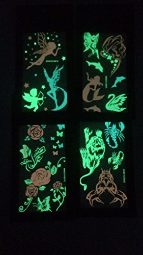 Premium Glow in the Dark Tattoos Glowing Temporary Tattoo Shimmer Gold Temporary Fake Jewelry Fluorescent Tattoos 4 Sheets