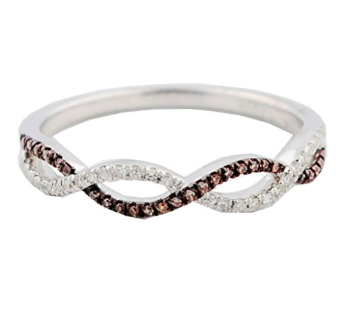 Midwest Jewellery Cognac and White Diamond Anniversary Wedding Band Twisted Infinity Ring Silver(i2/i3, I/j, 1/8ctw)