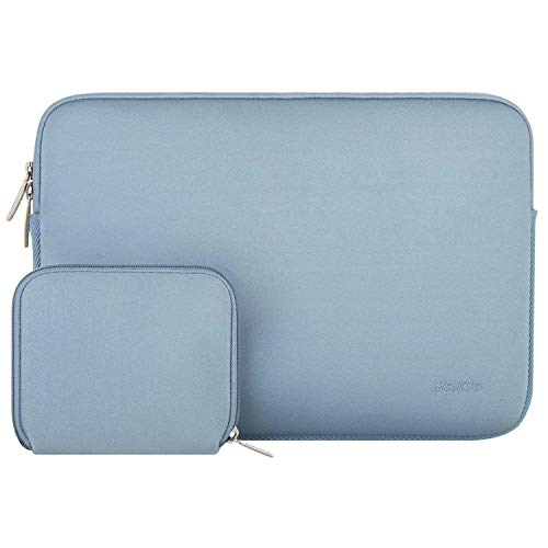 MOSISO Water Repellent Lycra Sleeve Bag Cover Compatible 13-13.3 Inch Laptop with Small Case Compatible MacBook Charger, Airy Blue