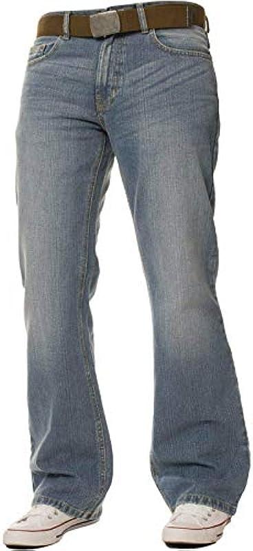 FB Mens Relaxed Fit Bootcut zamek błyskawiczny modny Jean 15/20 - jasnoniebieski wybielany denim: Odzież
