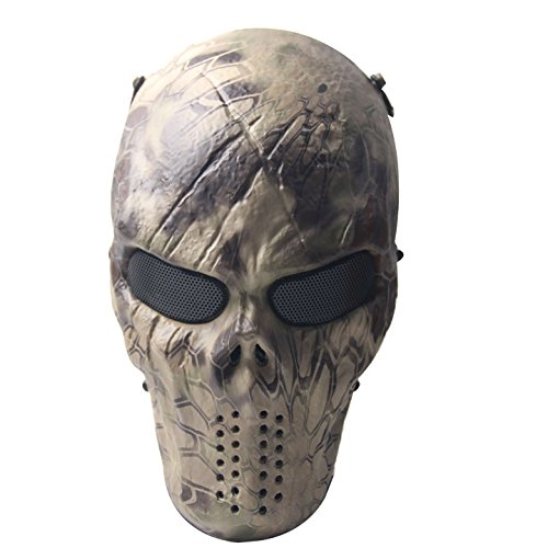 [Signstek Airsoft Protective Mask Gear Full Face Skull Skeleton Mask /Outdoor War CS Game Mask / Halloween Mask- For Outdoor Live-action CS, Parties, Halloween Movie] (Halloween Skeleton Mask)