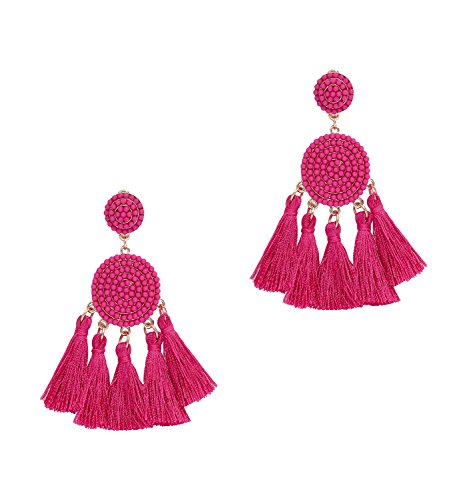 Beaded Tassel Earrings for Women Thread Fringe Drop Dangle Earrings Bohemia Statement Stud Earring for Girls (C-Hot Pink)