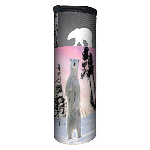 (Tree-Free Greetings Barista Tumbler, Vacuum Insulated Travel Coffee Tumbler, 17oz Stainless Steel Mug, Polar Bear Collage (BT20185))