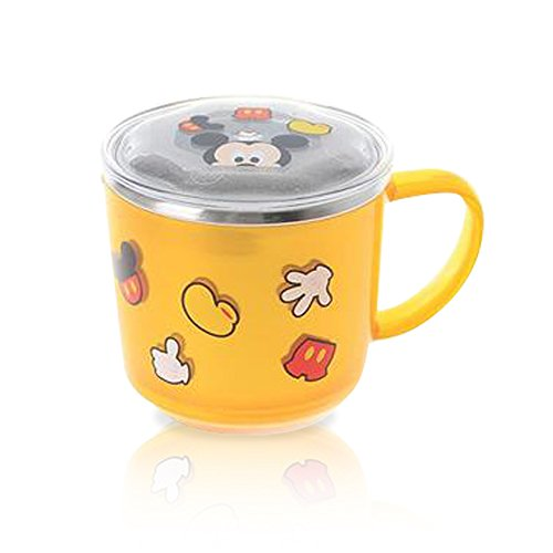 Finex Yellow Mickey Mouse Non Slip Stainless Steel Mug with Mickey image Lid for kids