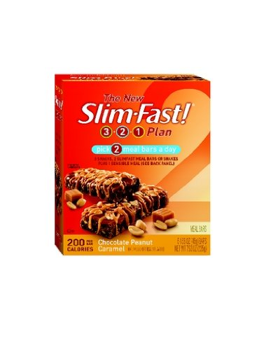 SlimFast 200 Calorie, Chocolate Peanut Caramel, Meal Bar 5pk, 7.9-Ounce Boxes (Pack of 8)