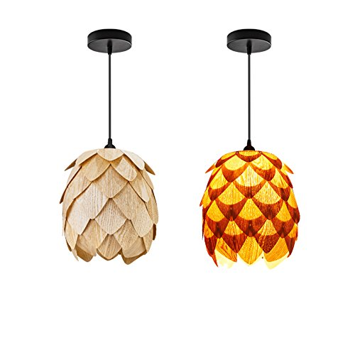 Huarsp B5201704 Fashion Pineapple Wood Veneer Material Shape Chandeliers for Restaurant, Study, Kitchen,Bedroom, etc.Burlywood by Huarsp (Image #4)