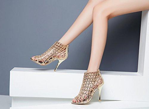 LizForm Women Cutout Sandal Boots Open Toe Stiletto Sandals Back Zipper Dress Shoes High Heels Boots Gold3 clearance online cheap real discount nicekicks cheap sale visit new cheap footlocker outlet visit new WpG1cdsq