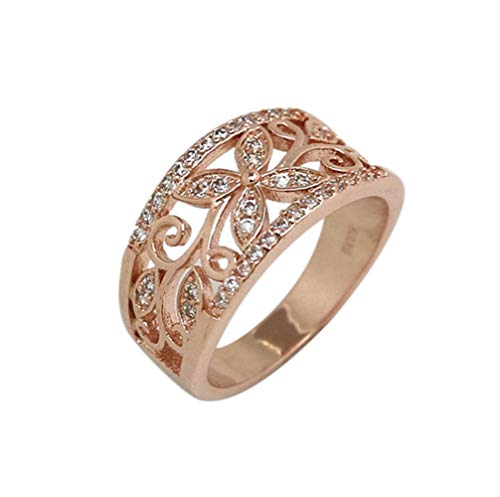 Keepfit Women's Fashion Encrusted Leaves Ring Rhinestone Rings(Rose Gold,8)