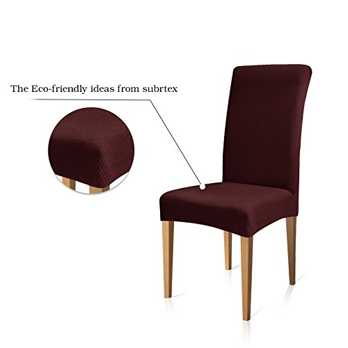 Subrtex Knit Stretch Dining Room Chair Slipcovers (6, Dark Red Knit)