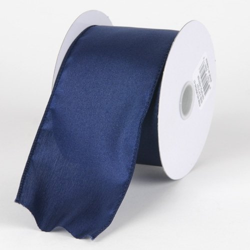 BBCrafts 2-1/2 inch x 10 Yards Thick Wired Edge Satin Ribbon Decoration Wedding Party (Navy Blue)
