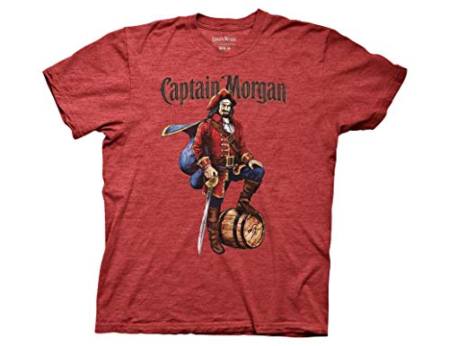 - Ripple Junction Captain Morgan Adult Unisex Vintage Label Light Weight Crew T-Shirt SM Heather Red
