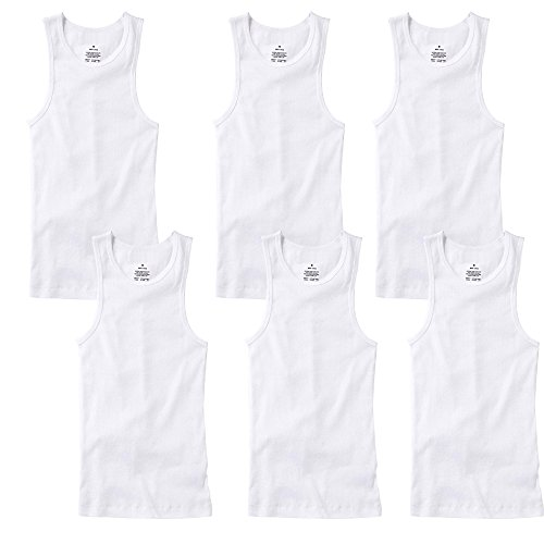 (TZ Promise 3-6 Pack Men's 100% Cotton Wife Beater A-Shirts Undershirt Plain Ribbed Tank Top (6-Pack White, X-Large))