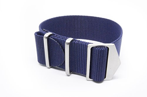 SPRING MADE Premium 22mm NATO Strap Watch Band. Nylon Watch Strap with Micro-Adjustment. (20 MM, Navy Blue)