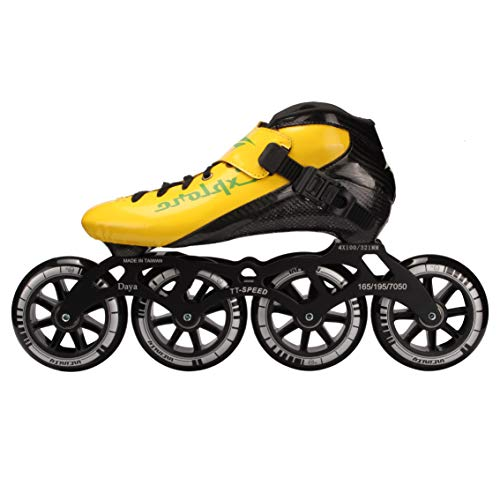 - HONGAO Carbon Fiber Speed Roller Skates/Professional Speed Roller Skates - Premium Inline Skate - Universal for Adults and Children (Black, red, Pink, Yellow) (Yellow, 41)