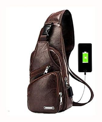 Travel & Storage Bag, Men's Anti Theft Crossbody Bag USB PU Charging Shoulder Bag Camping Chest Waist Pack, L|Dark Brown