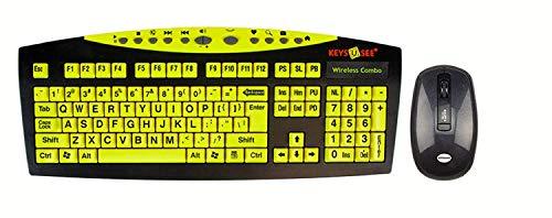 Keys-U-See Wireless Large Print Keyboard and Wireless Mouse Bundle Set (Keys U See) (Certified Refurbished)