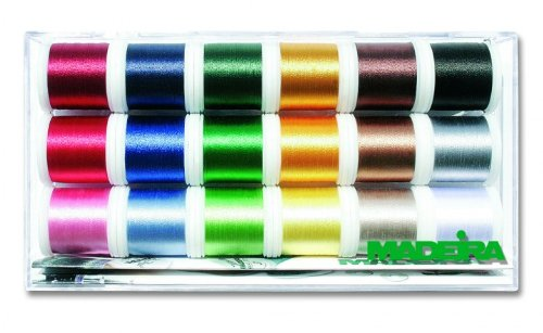 - Madeira 8040 | Assorted Viscose Rayon 40 Machine Embroidery Thread | 200m x 18