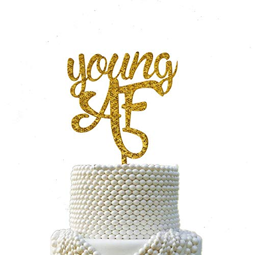 Gold Bling Bling Acrylic Young AF Cake Topper, Glitter Acrylic Birthday Decoration