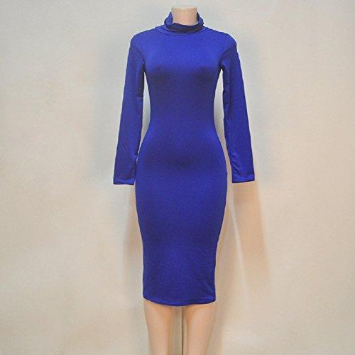 X Trendy Sleeve Turtleneck Sexy Party Bodycon Blue Women's Long C Dress FfdxqwRgq