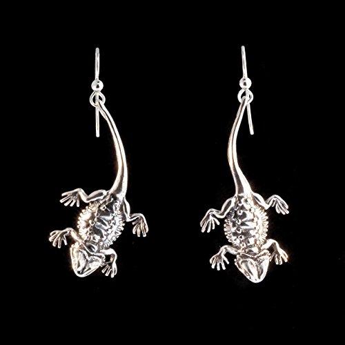 Bearded Dragon Earrings Silver Bearded Dragon Charm Lizard Charm Lizard Earrings Lizard Jewelry Reptile Jewelry by Marty Magic Jewelry
