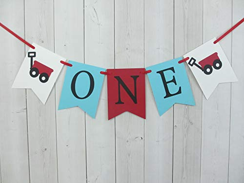 Little Wagon ONE Age High Chair Birthday Party Banner Sign Red Turquoise ()