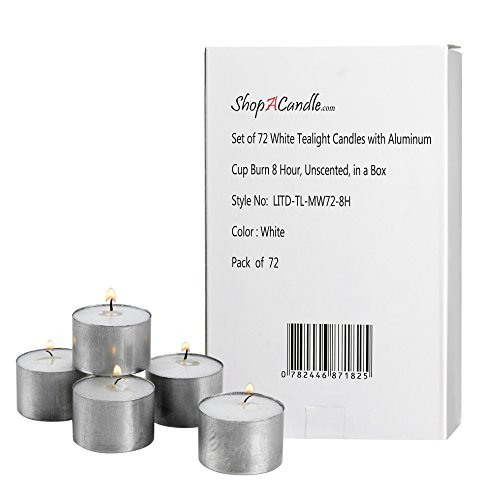 White Tea Light Candles in Metal Cups - Pack of 72 Unscented Tealights – 8 Hour Burn Time – Smokeless, Dripless, Long Lasting Bulk Set.