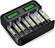 EBL 単4形電池充電器セット 8スロット LCD付き急速充電器+単四電池(1100mAh*8)セット単一単二単三単四充ニッケル水素充電池に対応充電器 USBとType C入力で最大8本同時充電 各スロット独立充電 AA AAA充電器...