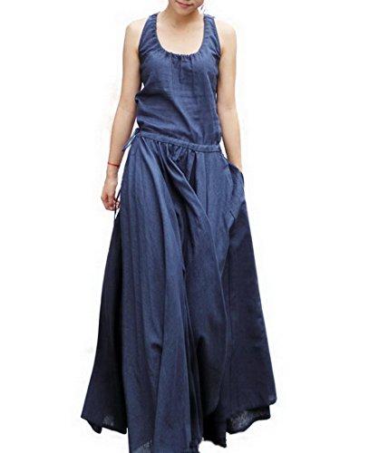 Then Be Style Women's Sleeveless Great Hem Flax Linen Dresses Blue Large