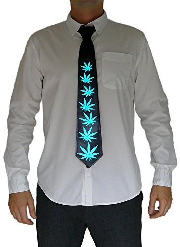 Light Up Tie – Pot Leafs Light Up With Sound – Novelty (Novelty Mens Tie Clothing)