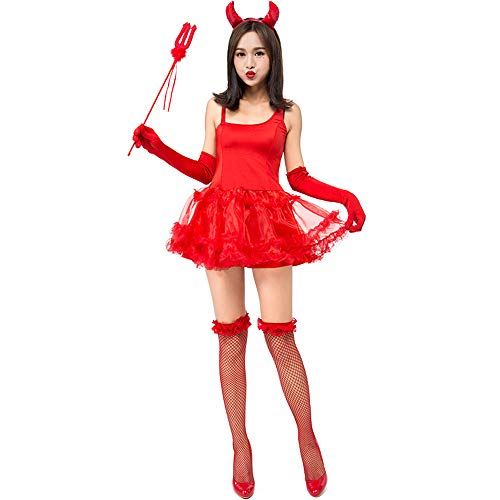 Honfill Demon Costume Novelty Red Dress with Gloves Stockings