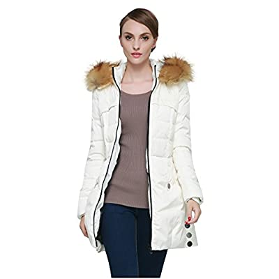 Orolay Women's Down Jacket with Faux Fur Trim Hood: Clothing