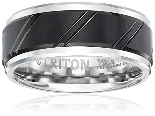 Triton Men's Black and White Tungsten 9mm Wedding Band, Size 13 by Amazon Collection