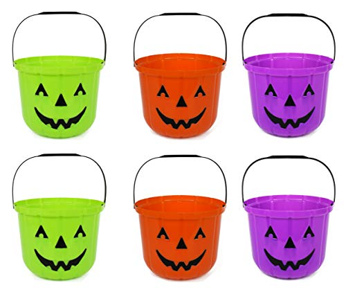 Set of 6 Pumpkin Halloween Treat Buckets! 7.48