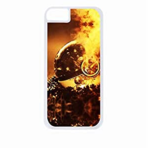 hunger games fiery poker ball - Hard White Plastic Snap - On Case-Apple Iphone 5 - 5s - Great Quality!