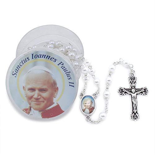 Saint John Paul II Rosary with White Pearl Beads