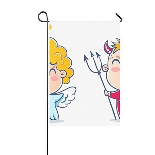 WIEDLKL Home Decorative Outdoor Double Sided Angel Devil Good Bad Children Costumes Garden Flag House Yard Flag Garden Yard Decorations Seasonal Welcome Outdoor Flag 12x18in Spring Summer Gift